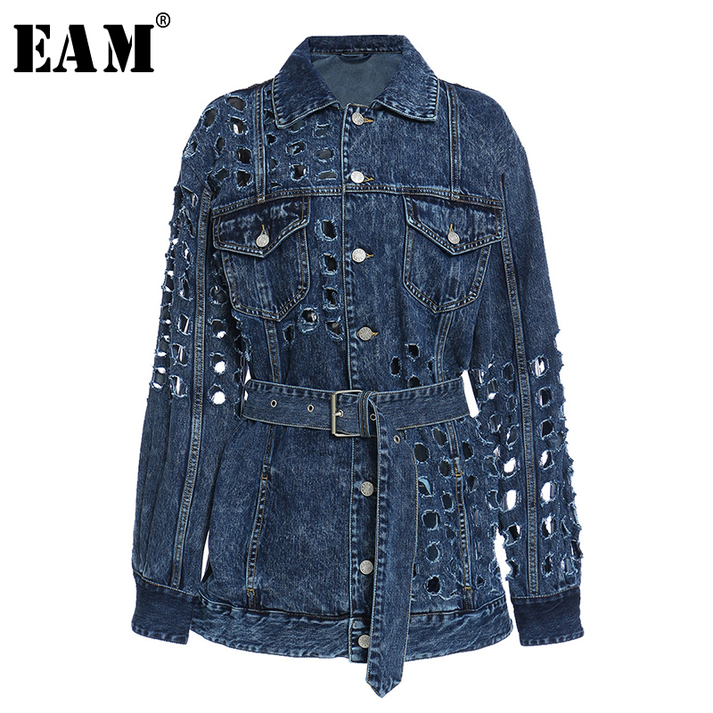 [EAM] Loose Fit Blue Hollow Out Big Size Denim Jacket New Lapel Long Sleeve Women Coat Fashion Tide Spring Autumn 2020 1Y720 1