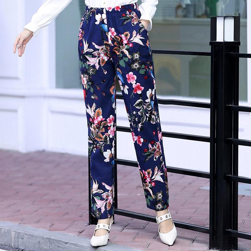 2020 Summer Women Pants Beach Wear Floral Print Plaid Pants Plus Size 5XL Women Long Trousers Female Korean High Waist Pants