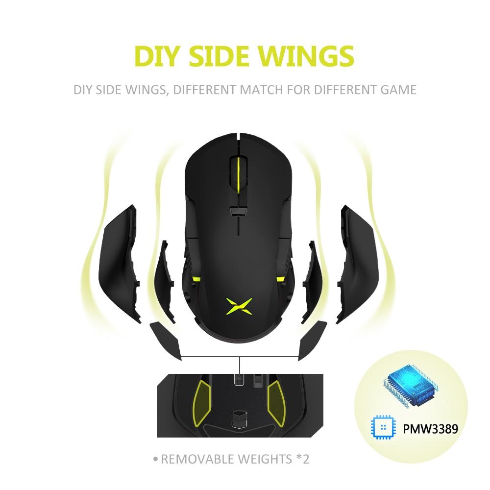 מחשבי וברזי השקיה Delux M627 PMW3389 חיישן Wired + אלחוטי RGB Gaming Mouse 16,000 DPI 8 שמאלה ולאחר עכברים ביד ימין עם כנפיים סייד DIY (3)
