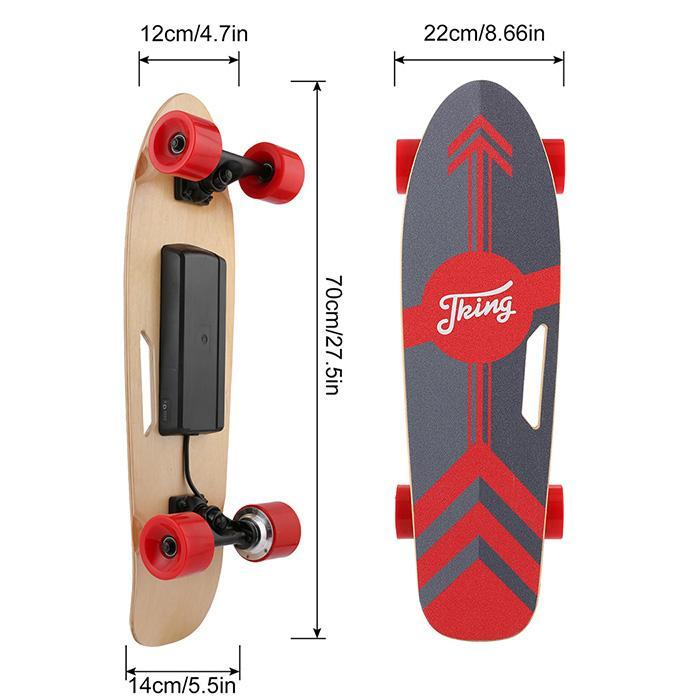 PU Wheel 3-Speed Electric Skateboard Lithium Battery Powered with Remote Controller 29.4V 2000mah Lithium Battery Maple Deck 4