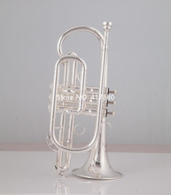 High Quality Bach Cornet horn Bb silver  Musical instrument with Case Gloves Free  Shipping