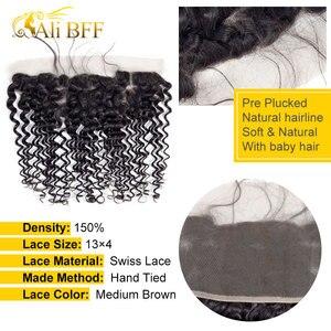 Image 4 - עלי BFF שיער עמוק גל חבילות עם פרונטאלית ברזילאי שיער תחרה פרונטאלית סגירת עם צרור רמי שיער טבעי חבילות עם פרונטאלית