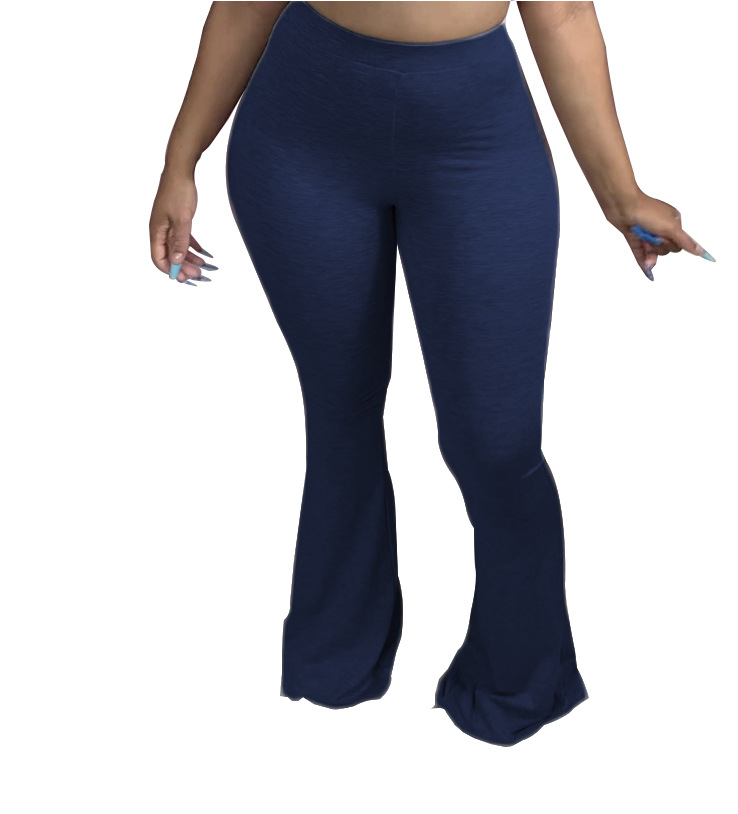 CM.YAYA Casual S-4XL Plus Size Women Elastic Wide Leg Flare Pants Leggings High Waist Trousers Draped Jogger Pants Sweatpants