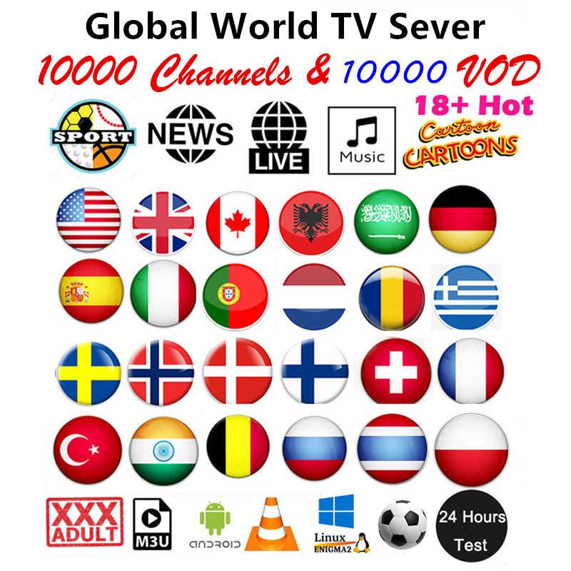 HD World IPTV 10000 Live 10000 VOD 4K Live Android TV Box Terbaik untuk Eropa Arab Amerika Serikat Afrika Latino perancis M3U IPTV Berlangganan
