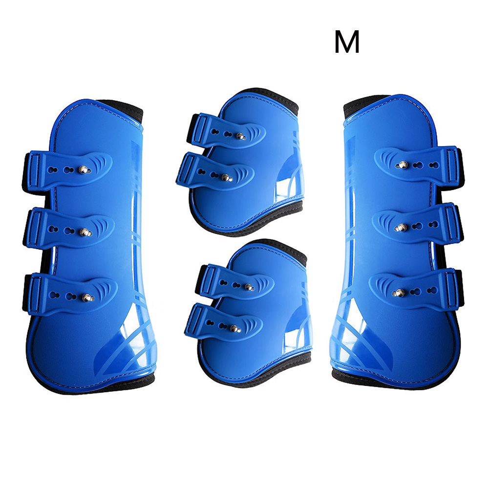 Equestrian Protection Wrap PU Leather Brace Outdoor Guard Farm Durable Riding Front Hind Horse Leg Boots Training Adjustable