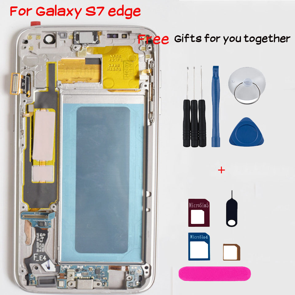 Original touch screen for <font><b>samsung</b></font> <font><b>galaxy</b></font> <font><b>S7</b></font> edge G935 G935F <font><b>LCD</b></font> display replacement <font><b>with</b></font> Burn-Shadow <font><b>LCD</b></font> <font><b>with</b></font> <font><b>Frame</b></font> hot offers image