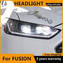 تصفيف السيارة لفورد فيوجن 2013 2015 ديناميكية LED العلوي ل جديد مونديو رئيس مصباح ديناميكية بدوره إشارة LED DRL ثنائية زينون HID