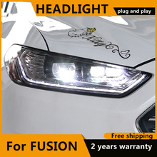 Car Styling for Ford fusion 2013 2015 dynamic  LED Headlight for New mondeo  Head Lamp Dynamic turn signal LED DRL Bi Xenon HID