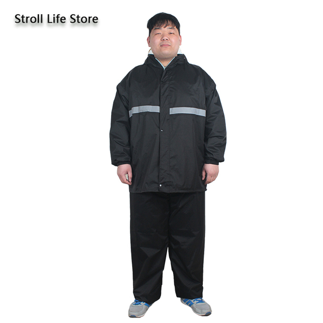 Large Plus Size Raincoat Men Hiking Fertilizer To Increase Fat Man Rain Coat Suit Adult Men and Women Thickened Double Layer