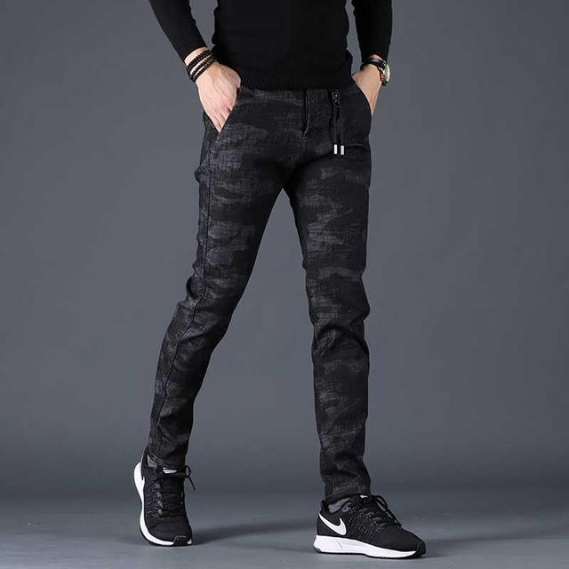 Free shipping new fashion men's male casual Original camouflage jeans men plus velvet autumn stitching pants Slim Korean C3129 62