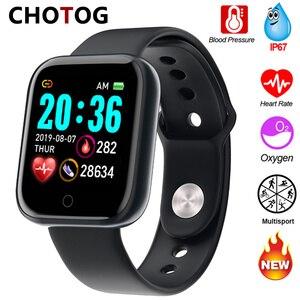 Image 1 - Reloj inteligente Ip67 para Android e IOS, reloj inteligente electrónico con control del ritmo cardíaco y de la presión sanguínea y resistente al agua para monitor, seguidor Fitness