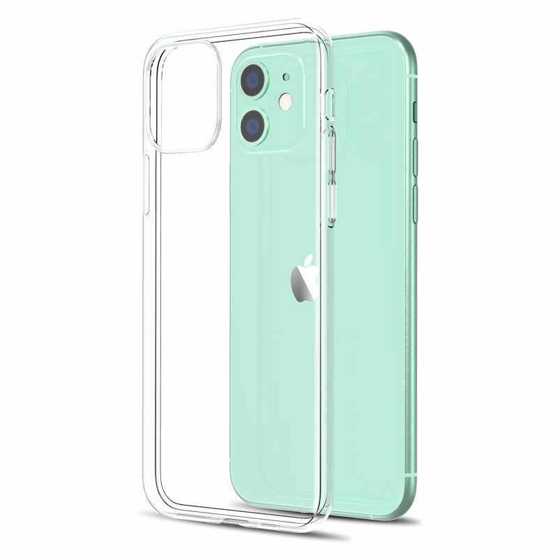 Funda de teléfono transparente ultrafina para iPhone 11 7, funda trasera de silicona suave para iPhone 11 Pro XS Max X 8 7 6s Plus 5 SE 11 XR