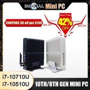Image 1 - Eglobal Fanless Mini Computer Intel i7 10510U i7 8565U i5 8265U 2 * DDR4 Msata + M.2 PCIE Mini PC finestre 10 HTPC Nuc VGA DP HDMI