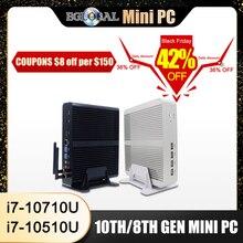 Eglobal fansız Mini bilgisayar Intel i7 10510U i7 8565U i5 8265U 2 * DDR4 Msata + M.2 PCIE Mini PC windows 10 HTPC Nuc VGA DP HDMI