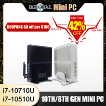 Mini ordinateur sans ventilateur Eglobal Intel i7 10510U i7 8565U i5 8265U 2 * DDR4 Msata + M.2 PCIE Mini PC Windows 10 HTPC Nuc VGA DP HDMI