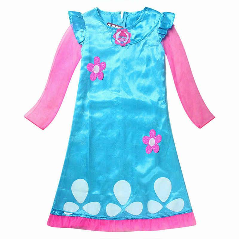 Poppy Trolls Costume Film Multi Colour Girls Kids Childs Fancy Dress Costume