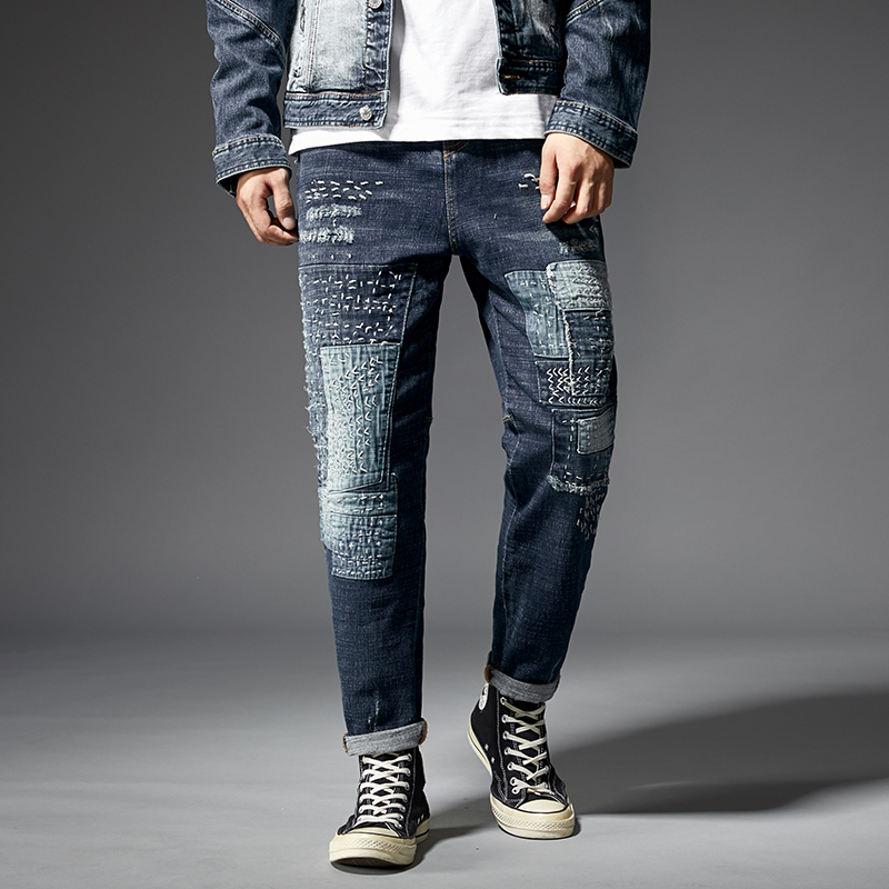 KSTUN Relaxed Tapered Jeans Men Patched Hand Embroiderey Hip hop Biker Jeans Mens Ripped Jeans Streetwear Casual Denim Pants Man 11