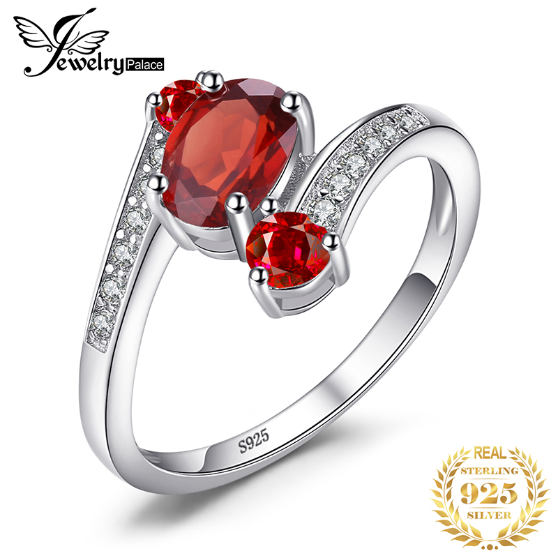 JewelryPalace 3 Stones Genuine Red Garnet Ring 925 Sterling Silver Rings For Women Engagement Ring Silver 925 Gemstones Jewelry