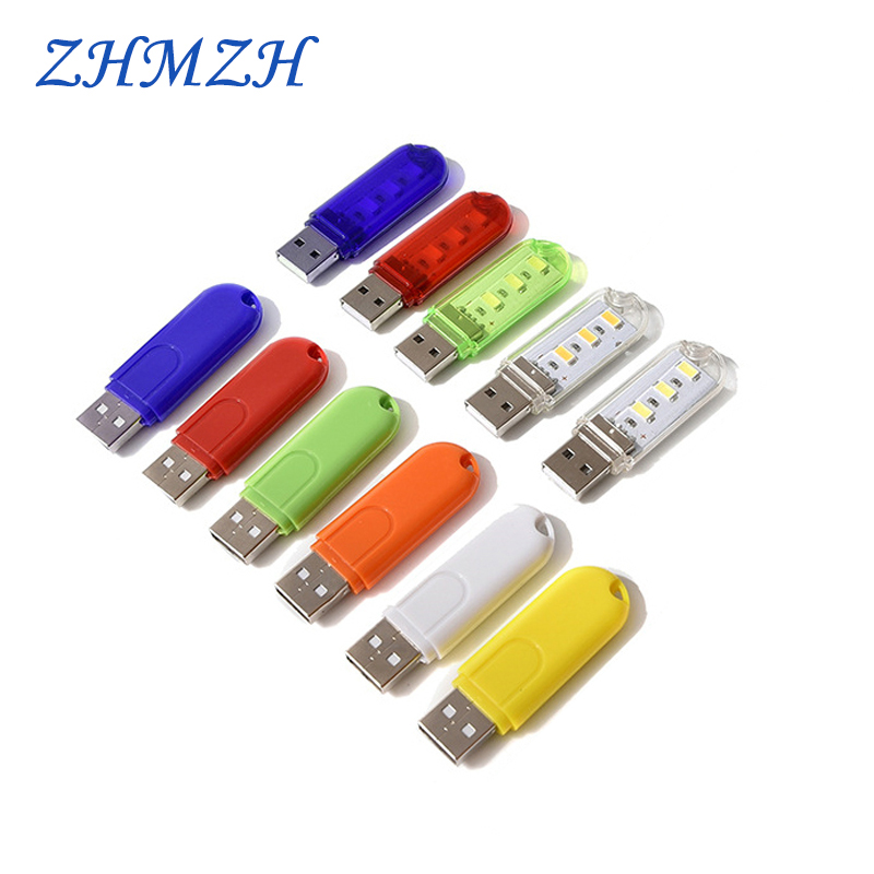 2PCS/lot Portable U Disk LED Lamp 3LEDs 1.5W Reading Lamps USB Night Lights Mini Book Light DC 5V Power Bank Powered 12 Colors