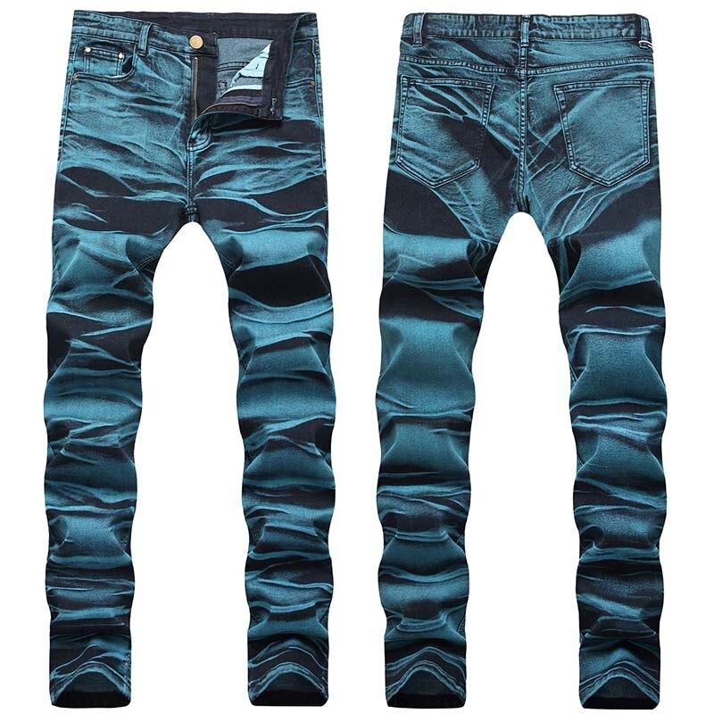 KIOVNO Fashion Men Painted Denim Trousers Multi Color Sretch Printed Jeans Pants For Male Size 29-42 (4)