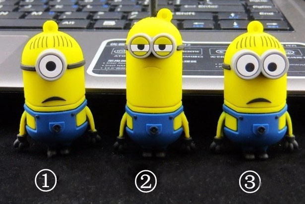Cartoon Cute Minions Disk USB Stick Memory Pendrive Stick Storage Device USB Flash Drive 128GB 64GB 32GB 16GB 8GB Pen Drive