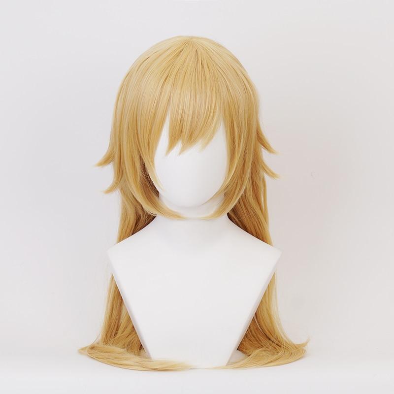 60cm Golden Long Synthetic Hair Oshino Shinobu Cosplay Wigs + Wig Cap