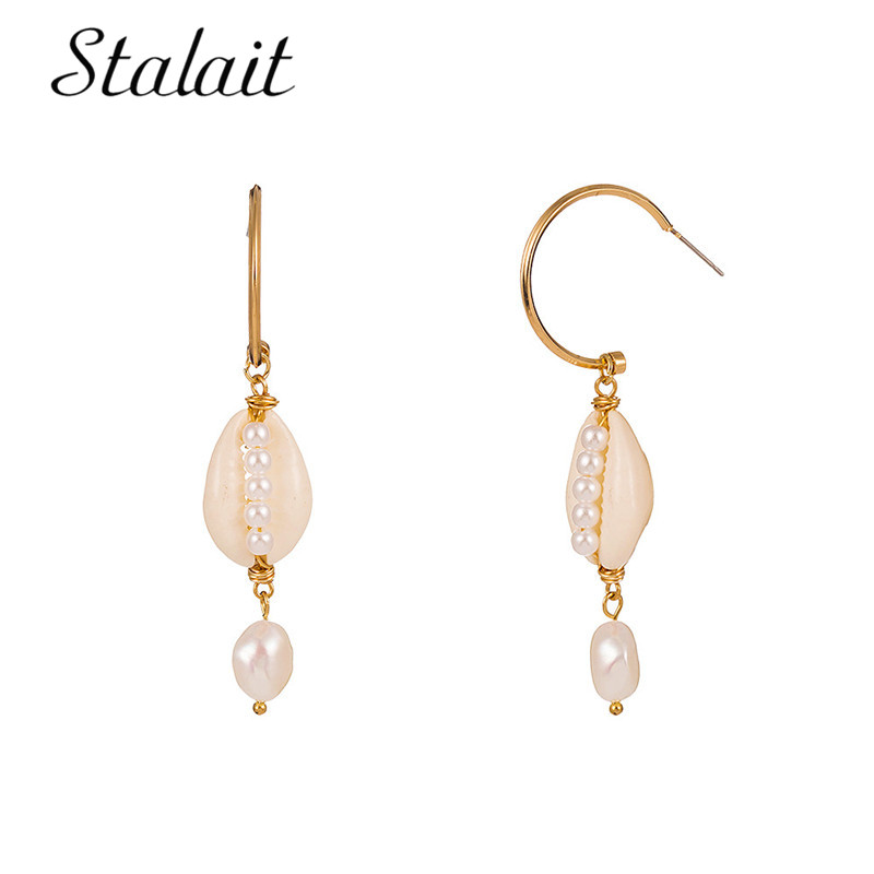 2019 New Simple Cute Gold Beach Sea Shell Conch Shape Dangle Earrings Pearl Beads Earrings Women Jewelry Party Gift