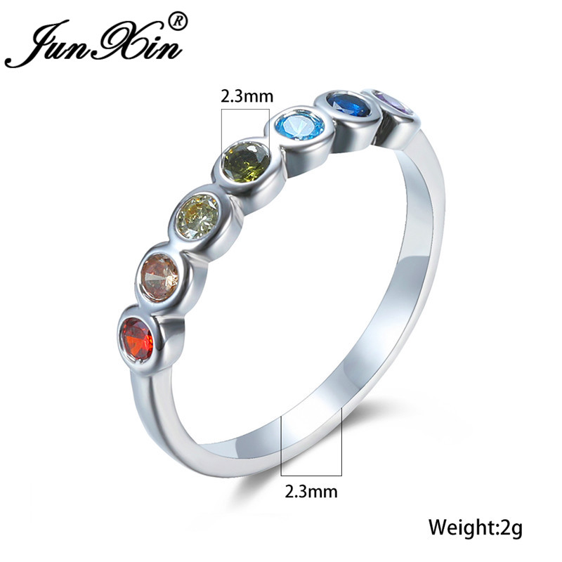 Single Row Multicolor Zircon Thin Ring White Gold Rainbow Fire Crystal Stone Wedding Rings For Women Stacking Ring Jewelry Cz