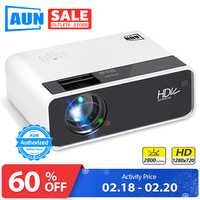 AUN proyector HD D60 | resolución 1280x720 MINI proyector de vídeo LED 3D para cine en casa Full HD HDMI (opcional Android WIFI D60S)