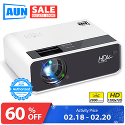 Aun Hd Projector D60 | 1280X720 Resolutie Mini 3D Led Video Projector Voor Full Hd Home Cinema. hdmi (Optioneel Android Wifi D60S)