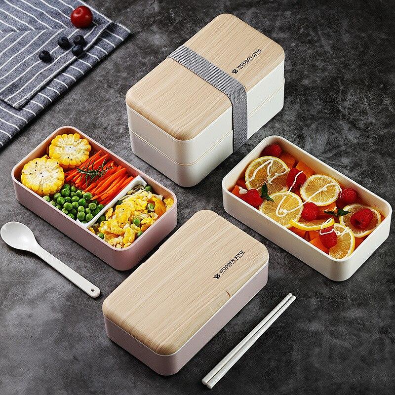 Bandeja portátil de fibra de bambu, recipiente para alimentos, camada única, sushi bento, escritório, bandeja de miropé, lonchera