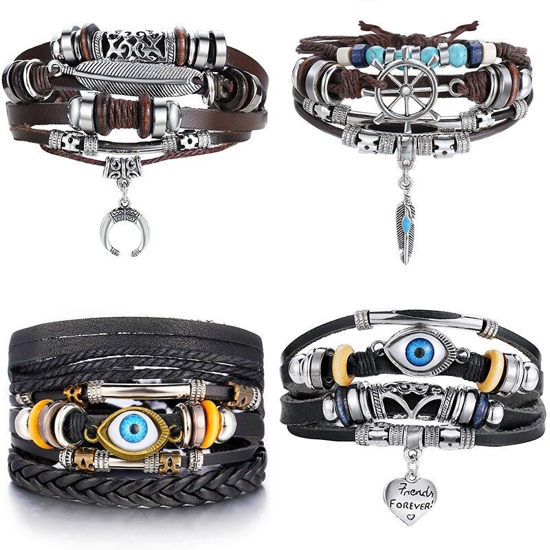 IF ME Fashion Adjustable Multilayer Leather Bracelet Men Male Handmade Wrap Rope Horn Leaf Feather Set Bracelet Bangles Jewelry
