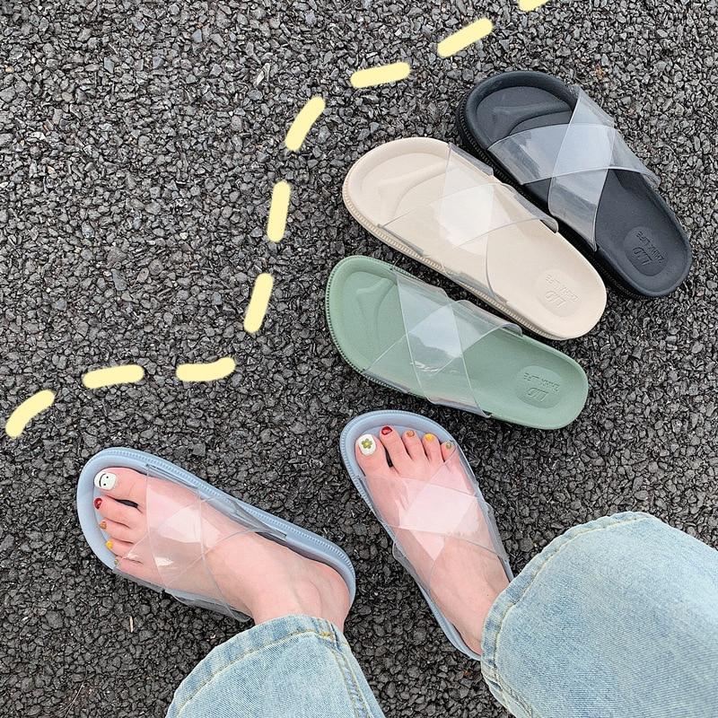 Ins Women Concise Transparent Slipper Solid Platform Shoes Online Star Beach Slides Female Outside Flip Flops Students Mules