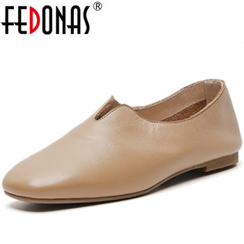 FEDONAS Concise Women Genuine Leather Pumps Round Toe Thick Heels Pumps Spring Summer Casual Shoes Concise Sweet Shoes Woman
