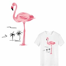 Iron on Flamingo Patches for Girl Clothing DIY T-shirt Dresses Applique Heat Transfer Vinyl Thermo Stickers Stripes on Clothes iron on heart mouse patches for kids girl clothing diy t shirt dresses applique heat transfer vinyl thermo letter patch stickers
