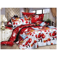 Christmas Home textile Cotton bedclothes high quality 4pc bedding set (Color: Red)
