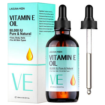 LAGUNAMOON Organic Pure Natural Vitamin E Oil Face Body Skin Moisturize Reduce Wrinkles Reduce the Look of Scars 120ML 1
