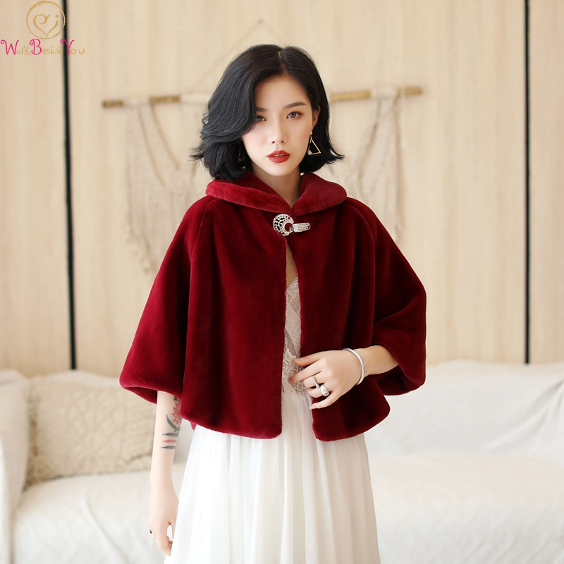 Wine Red Formal Party Evening Jackets Wraps Faux Fur Cloaks Wedding Capes Winter Women Bolero Wrap Shawls In Stock 2019 Shrug