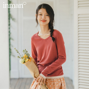Image 1 - INMAN 2020 Spring New Arrival Literary Style Sleeve Cuffs Contrast Color Loose Style Women Knit Wear Tops