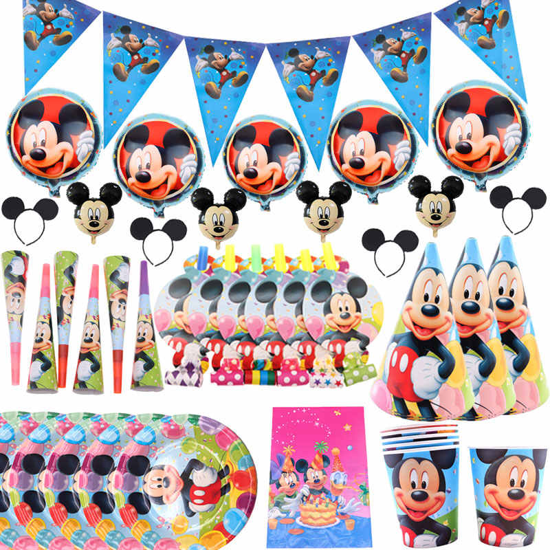 Mickey Mouse Happy Birthday Party Decorations Kids Plate Cup Straw Napkins Bags Disposable Tableware Baby Shower Event Party Set