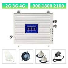 Repetidor celular gsm dcs wcdma 900 1800 2100 tri banda 2g 3g 4g sinal impulsionador móvel amplificador de sinal 2 antenas internas conjunto