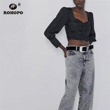 купить ROHOPO Autumn Puff Long Sleeve Draped Hem Square Collar Solid Black Blouse Ctop Top Shirt #9561 онлайн