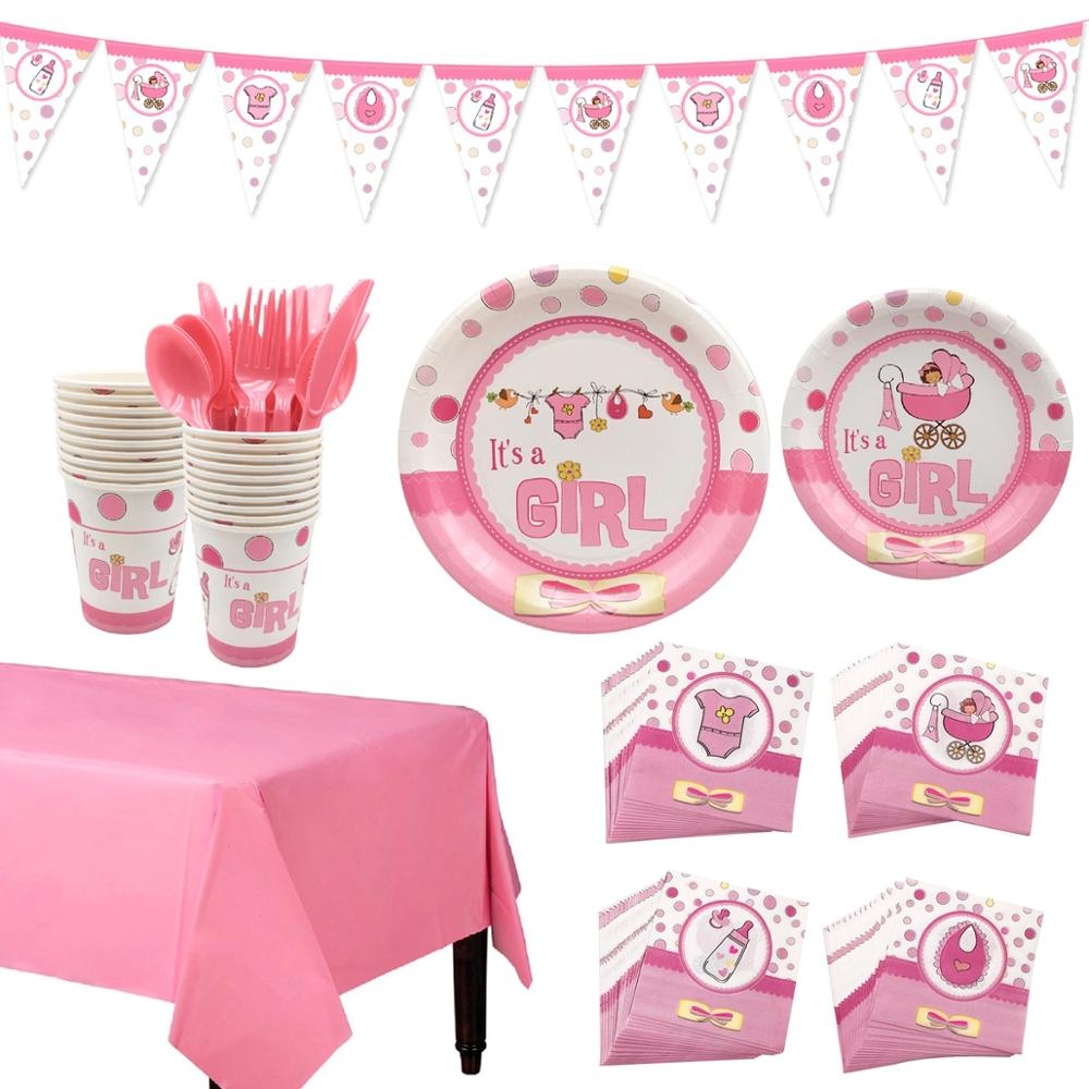Girls Pink Baby Shower Tableware Plates Napkins Tablecloths Decorations Cutlery
