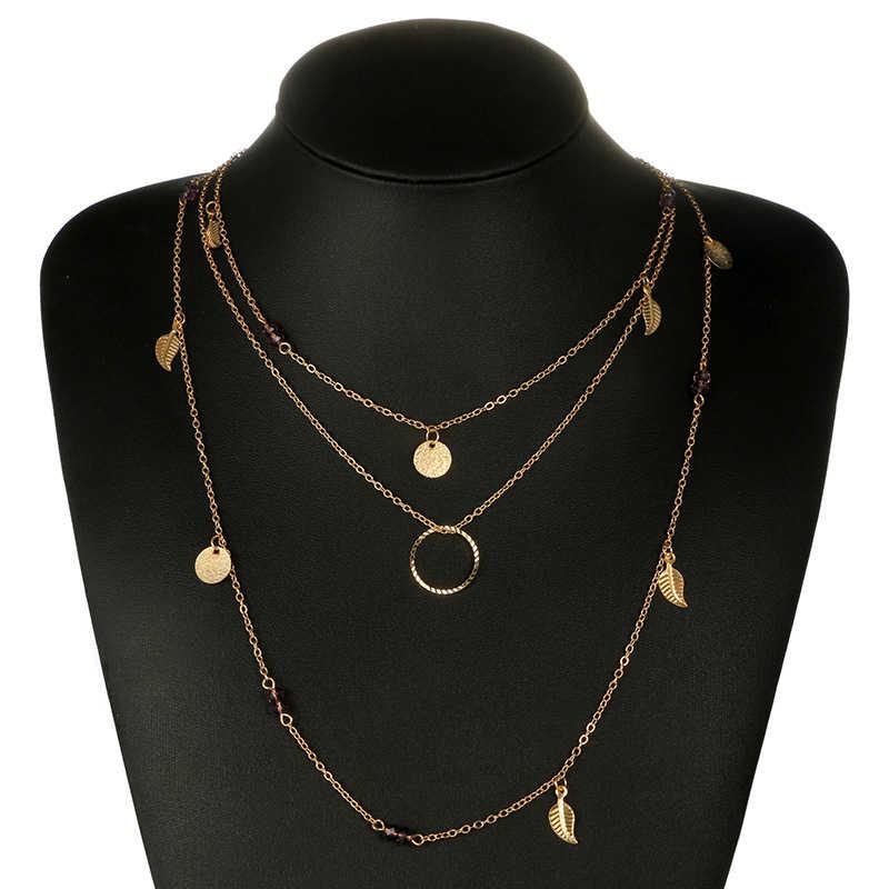 Boho em camadas colar para mulheres moda folha de ouro colar gargantilha jóias femininas pingente redondo roxo strass gargantilha