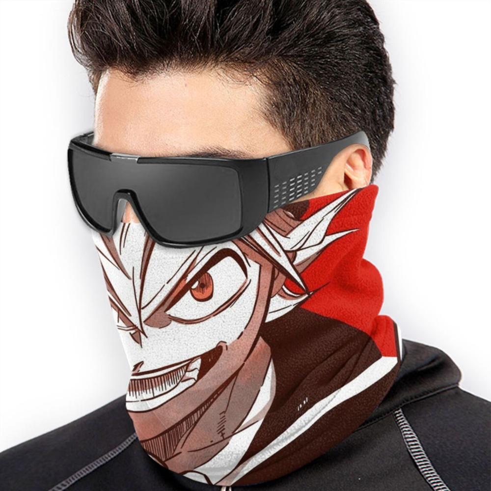 NA Scarf Headband,Black Clover Black Bulls Circle Logo Windproof Face Guard,Beautiful Neck Gaiter Balaclavas For Mountain Running Climbing,24x52cm