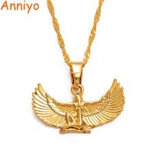Anniyo Fab египетское ожерелье богини золотого цвета крыло цепи ожерелье s Ankh Bib Wicca языческие украшения египетская религия#220206