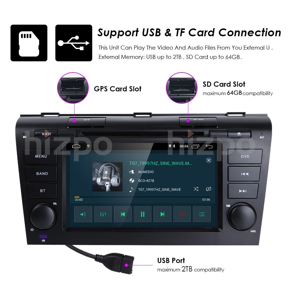 2 Din Auto Stereo Auto odtwarzacz DVD Android 10 OS 7 cal pojemnościowy ekran dotykowy wsparcie lustro Link Bluetooth Mazda 3 2004-2009 PC