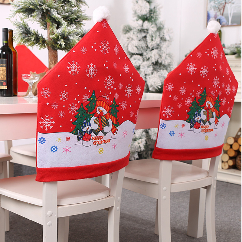 Christmas Santa Claus Red Cap Chair Back Cover Dinner Table Case Decorations Chair Cover Aliexpress