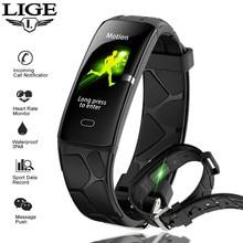 LIGE 2019 New Men Sport Smart Bracelet IP68 Waterproof Heart Rate Monitor Fitness tracker Wristband Smartwatch Band