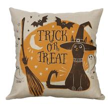 Linen Cushion Cover Pumpkin Owl Skull Pillow Covers Pattern For Car Sofa Home Decor Halloween Decorative Cushion Covers 45x45cm